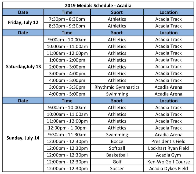 2019 Medals Schedule